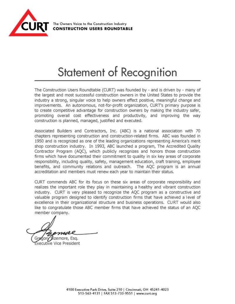 CURT Statement of Recognition AQC Program